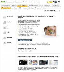 Screenshot Comdirect Homepage